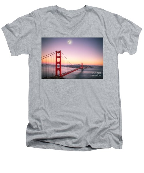 Sunset In San Francisco Men's V-Neck T-Shirt by Jim And Emily Bush