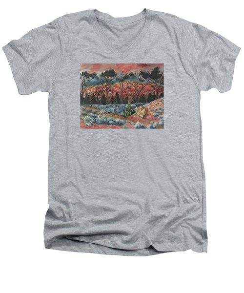 Sunset In The Cheatgrass Men's V-Neck T-Shirt by Dawn Senior-Trask