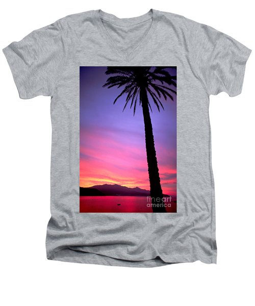 Men's V-Neck T-Shirt featuring the photograph Sunset by Luciano Mortula