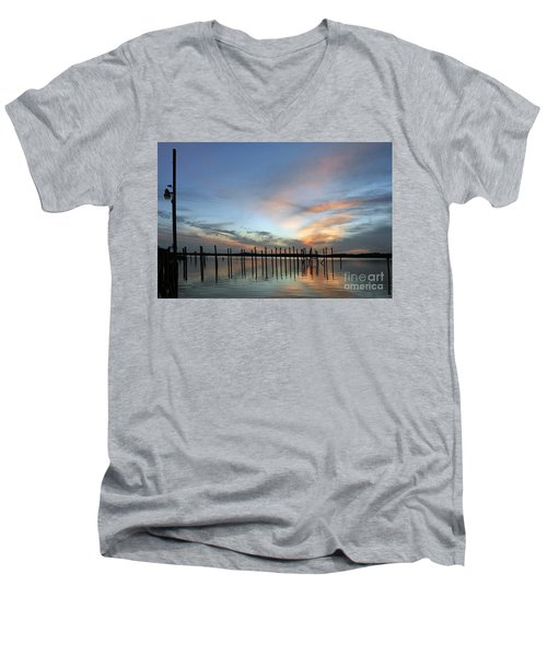 Men's V-Neck T-Shirt featuring the photograph sunset marina Everglades by Dan Friend