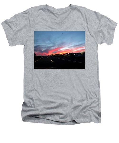 Sunset On Route 66 Men's V-Neck T-Shirt