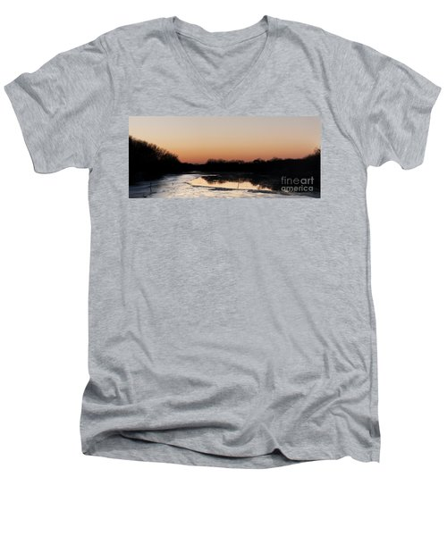 Sunset Over The Republican River Men's V-Neck T-Shirt