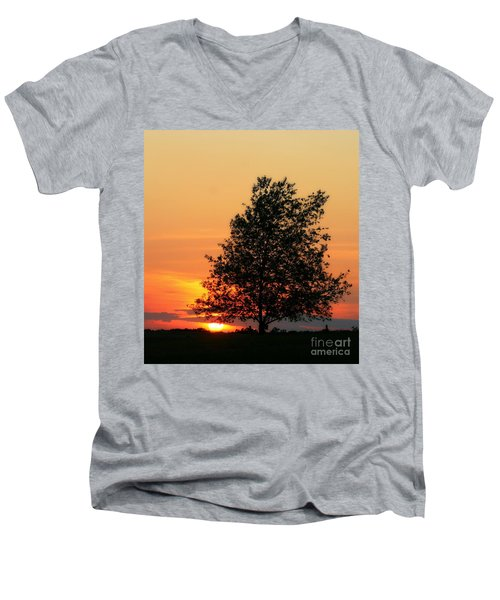 Sunset Square Men's V-Neck T-Shirt by Angela Rath