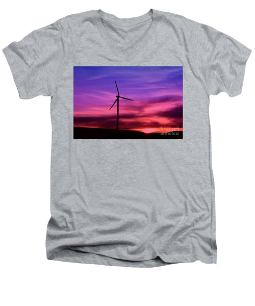 Men's V-Neck T-Shirt featuring the photograph Sunset Windmill by Alyce Taylor
