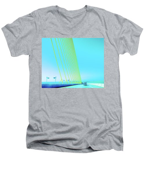 Men's V-Neck T-Shirt featuring the photograph Sunshine  Bridge by Lizi Beard-Ward