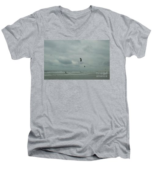 Men's V-Neck T-Shirt featuring the photograph Surfing The Wind by Donna Brown