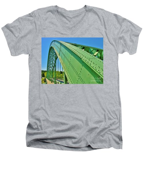 Men's V-Neck T-Shirt featuring the photograph Suspension Bridge by Sherman Perry
