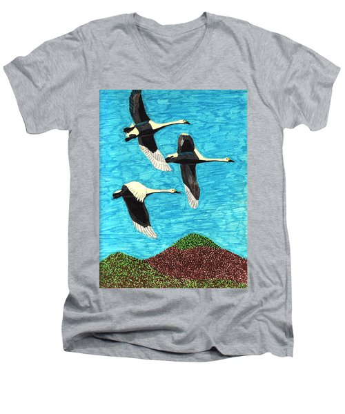 Swans In Flight Men's V-Neck T-Shirt by Wendy McKennon
