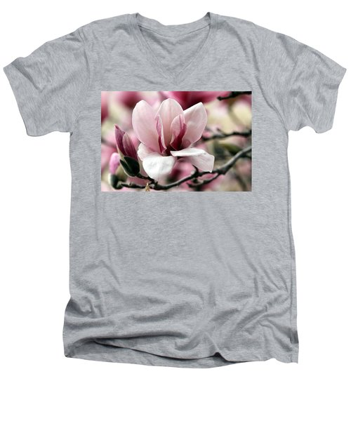 Sweet Magnolia Men's V-Neck T-Shirt by Elizabeth Winter