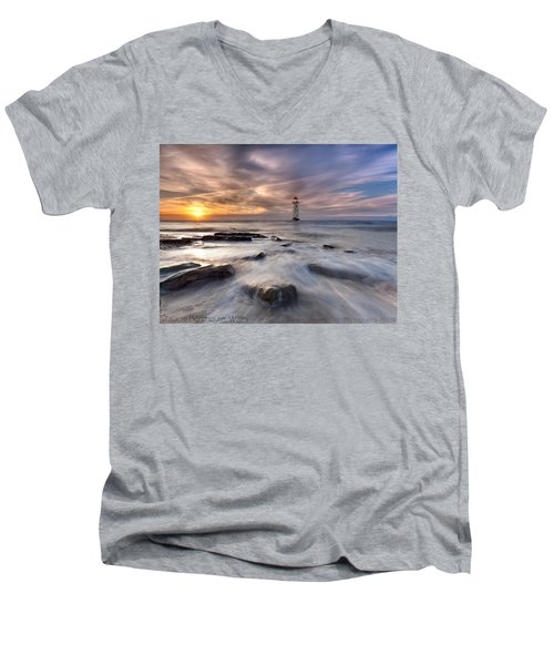 Talacre Lighthouse  Men's V-Neck T-Shirt