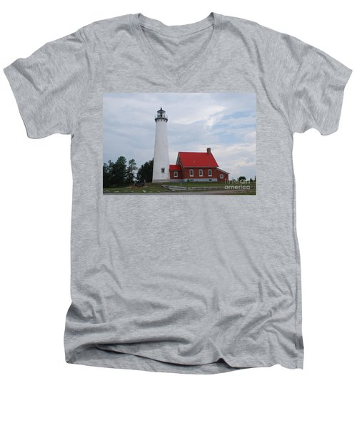 Tawas Point Lighthouse Men's V-Neck T-Shirt