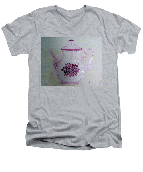 Men's V-Neck T-Shirt featuring the painting Tea Pot by Cynthia Amaral