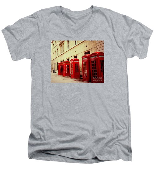 Men's V-Neck T-Shirt featuring the photograph Telephone Booths by Ranjini Kandasamy