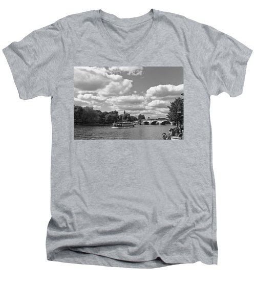 Men's V-Neck T-Shirt featuring the photograph Thames River Cruise by Maj Seda