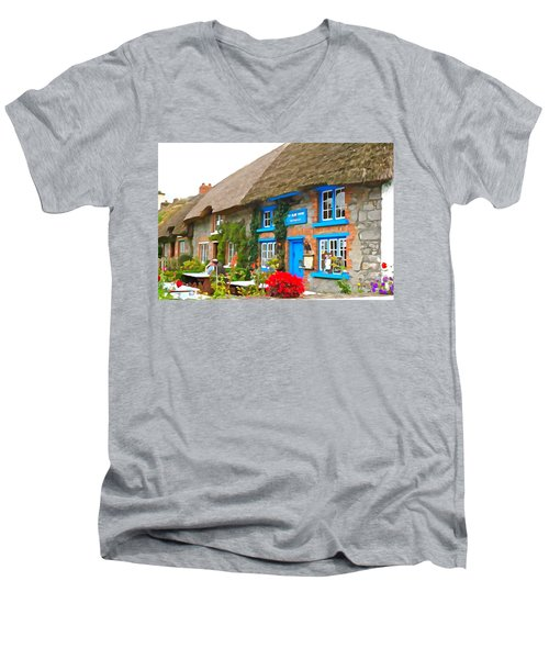 Men's V-Neck T-Shirt featuring the photograph The Blue Door by Charlie and Norma Brock