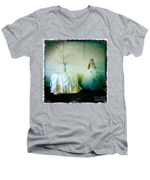 Men's V-Neck T-Shirt featuring the photograph The Bride Takes A Moment by Nina Prommer