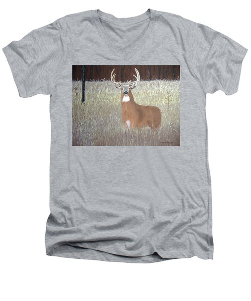 Men's V-Neck T-Shirt featuring the painting The Buck Stops Here by Norm Starks