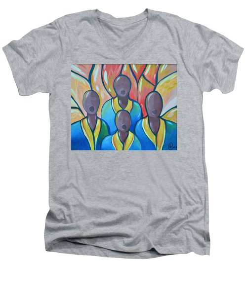 Men's V-Neck T-Shirt featuring the painting The Choir by AC Williams