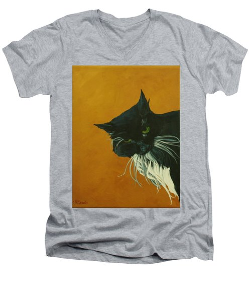 Men's V-Neck T-Shirt featuring the painting The Doof by Wendy Shoults