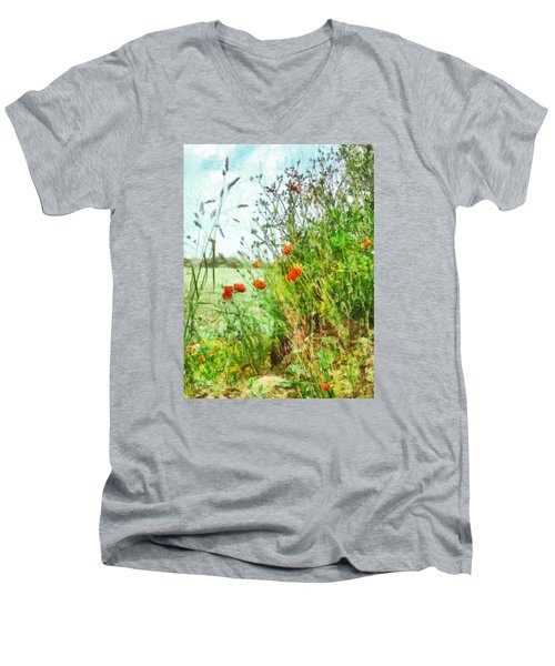 Men's V-Neck T-Shirt featuring the digital art The Edge Of The Field by Steve Taylor