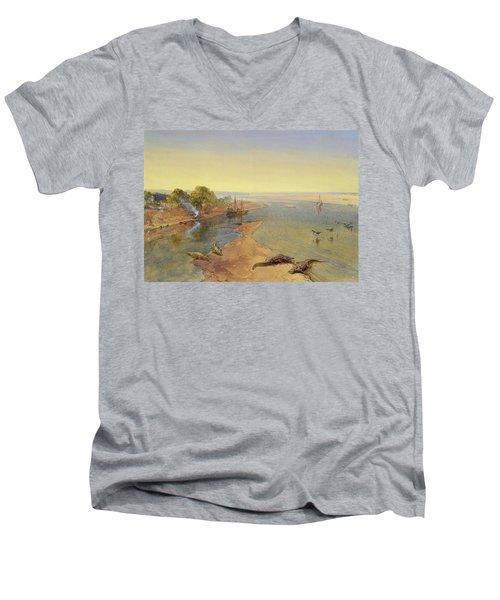 The Ganges Men's V-Neck T-Shirt by William Crimea Simpson