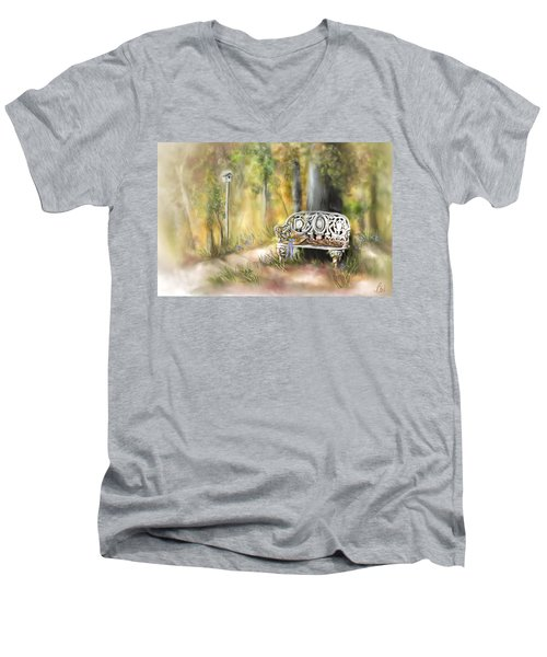 Men's V-Neck T-Shirt featuring the painting The Garden Bench by Bonnie Willis