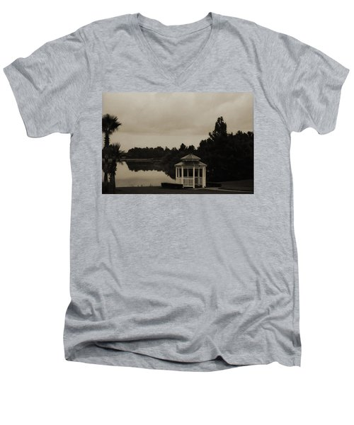 Men's V-Neck T-Shirt featuring the photograph The Gazebo At The Lake by DigiArt Diaries by Vicky B Fuller