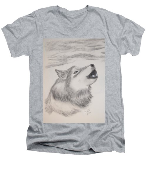 Men's V-Neck T-Shirt featuring the drawing The Howler by Maria Urso