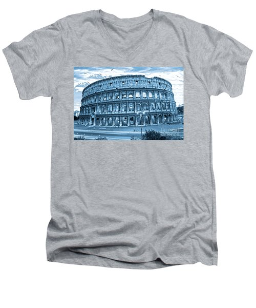 Men's V-Neck T-Shirt featuring the photograph The Majestic Coliseum by Luciano Mortula