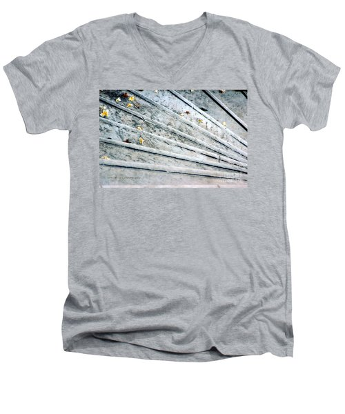 Men's V-Neck T-Shirt featuring the photograph The Marble Steps Of Life by Vicki Ferrari
