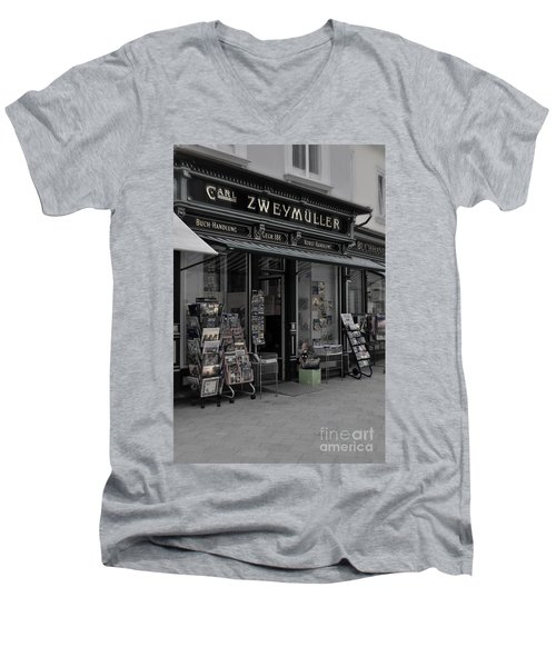 The Old Bookstore Men's V-Neck T-Shirt by Mary Machare