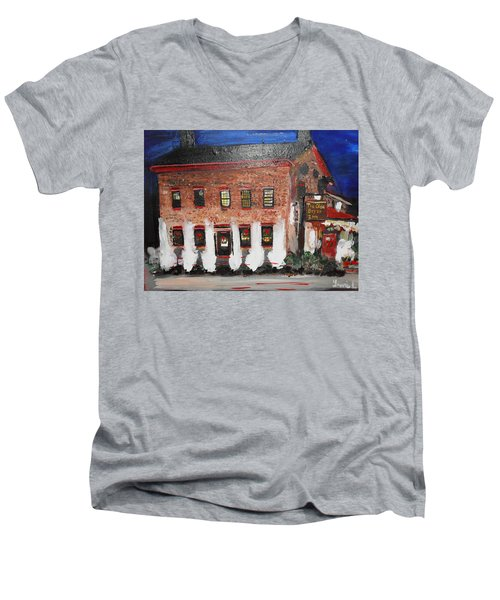 Men's V-Neck T-Shirt featuring the painting The Olde Bryan Inn by Laurie L