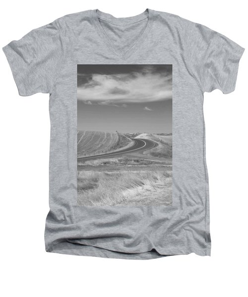 Men's V-Neck T-Shirt featuring the photograph The Quiet Road by Kathleen Grace