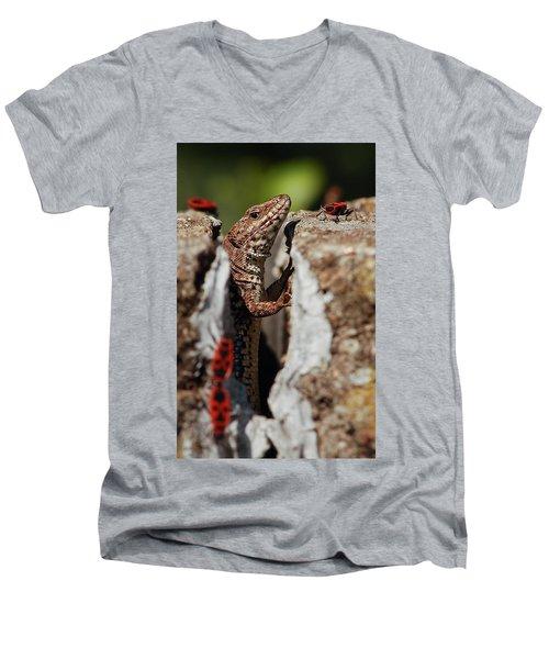 Men's V-Neck T-Shirt featuring the photograph the random Lizard  by Stwayne Keubrick