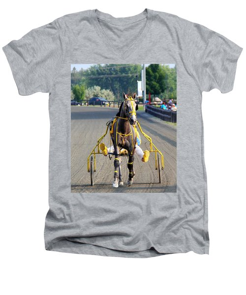 Men's V-Neck T-Shirt featuring the photograph The Warm-up by Davandra Cribbie
