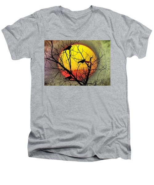 Three Blackbirds Men's V-Neck T-Shirt by Bill Cannon