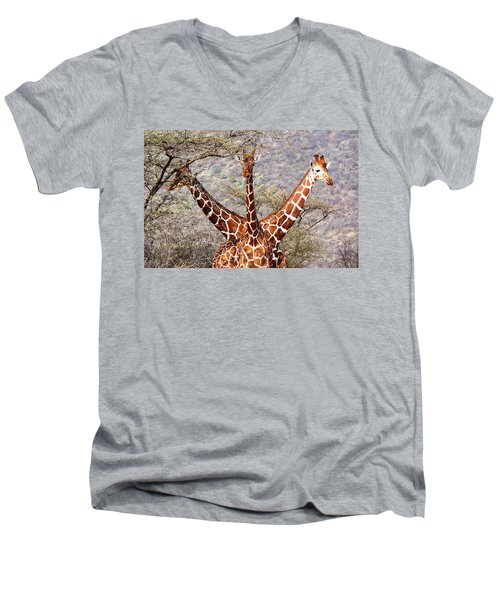 Three Headed Giraffe Men's V-Neck T-Shirt