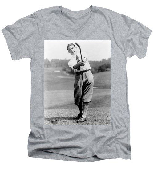 Men's V-Neck T-Shirt featuring the photograph Tom Armour Wins Us Golf Title - C 1927 by International  Images