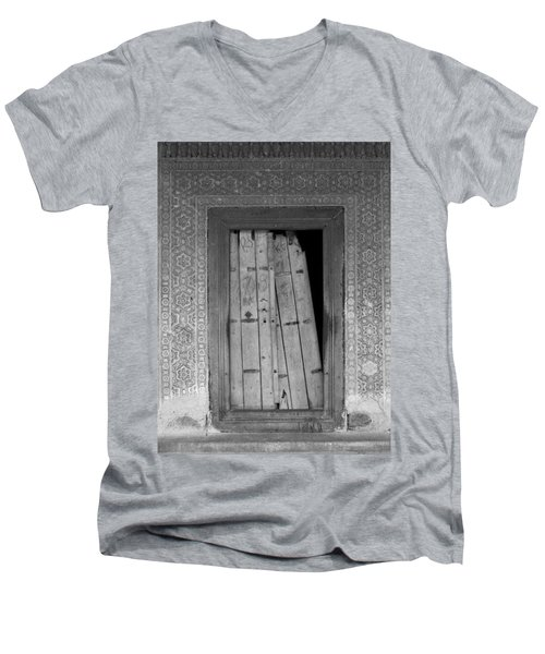 Men's V-Neck T-Shirt featuring the photograph Tomb Door by David Pantuso