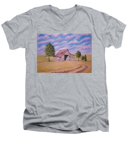 Men's V-Neck T-Shirt featuring the pastel Tractor Shed by Stacy C Bottoms