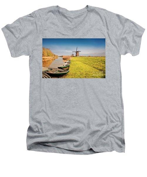 Traditional  Dutch Landscape Men's V-Neck T-Shirt