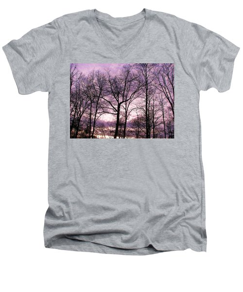 Men's V-Neck T-Shirt featuring the photograph Trees In Glorious Calm by Pamela Hyde Wilson