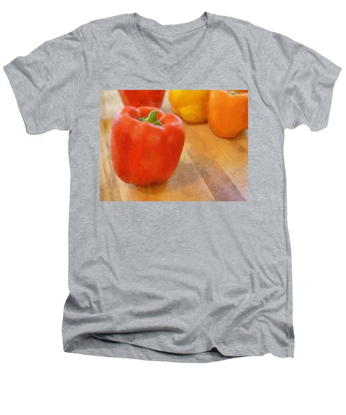 Tri Colored Peppers Men's V-Neck T-Shirt