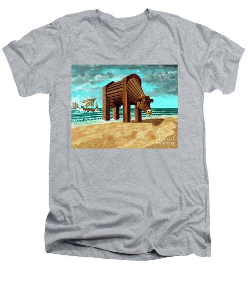 Trojan Cow Men's V-Neck T-Shirt