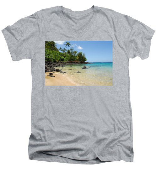 Men's V-Neck T-Shirt featuring the photograph Tropical Paradise by Lynn Bauer