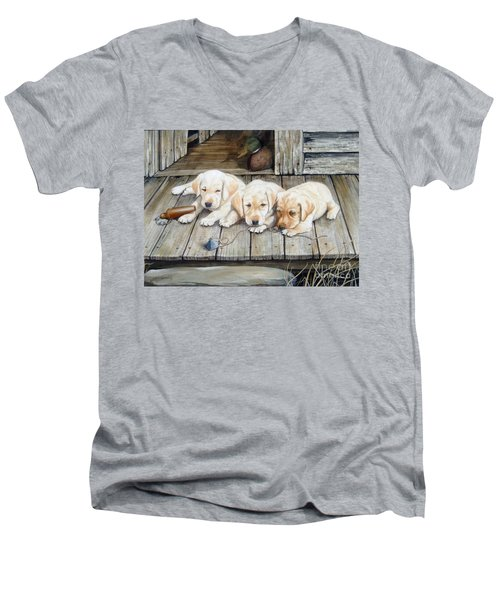 Tuckered Out Trio  Sold  Prints Available Men's V-Neck T-Shirt