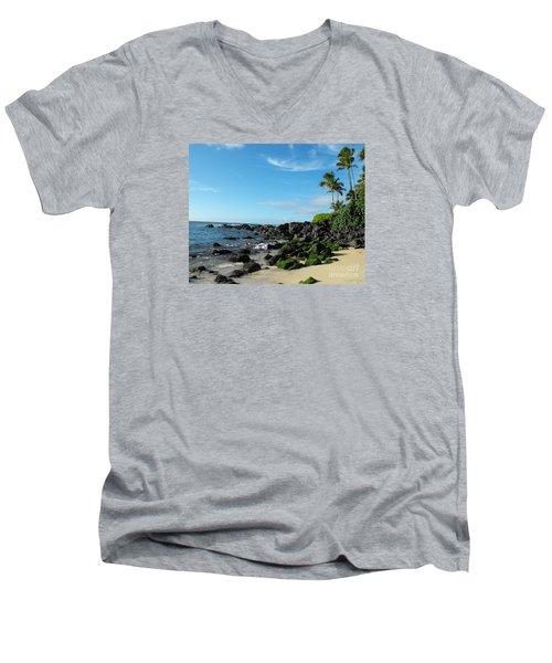 Turtle Beach Oahu Hawaii Men's V-Neck T-Shirt by Rebecca Margraf
