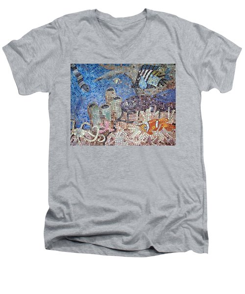 Men's V-Neck T-Shirt featuring the painting Under The Sea by Cynthia Amaral