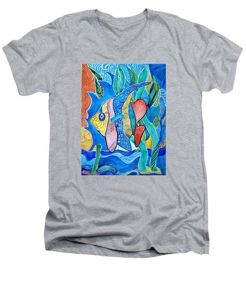 Under The Sea Men's V-Neck T-Shirt by Sandra Lira