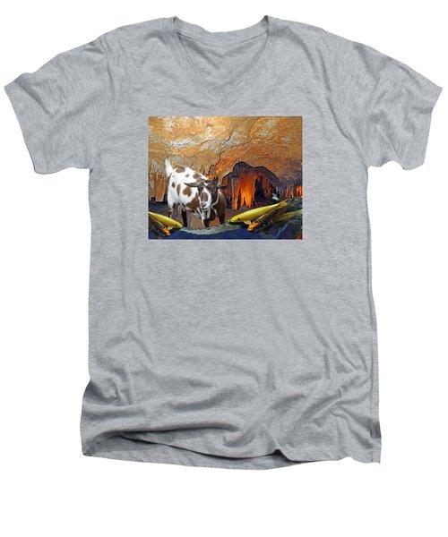 Underground Swim Men's V-Neck T-Shirt by Lynda Lehmann